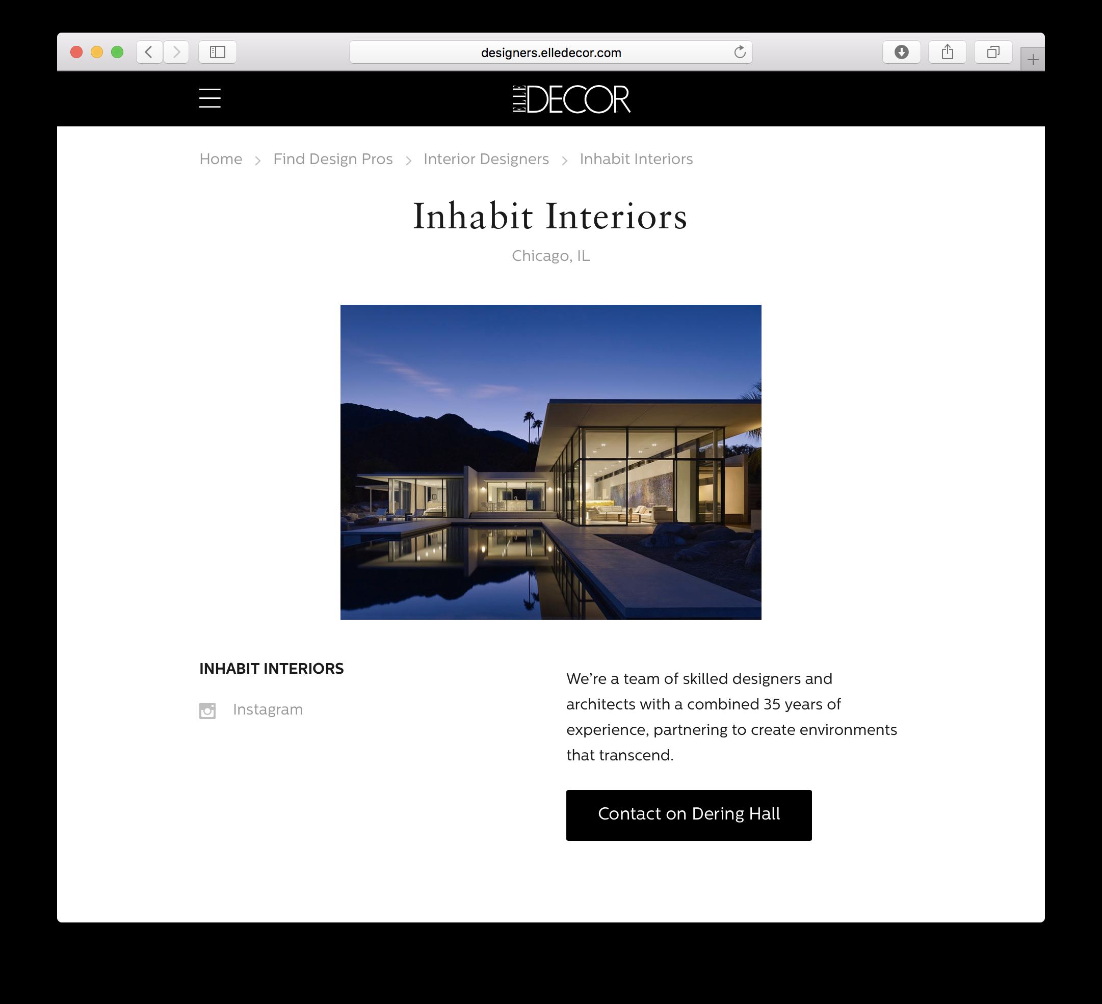 Elle Decor— Featured Interior Design by Inhabit Interiors