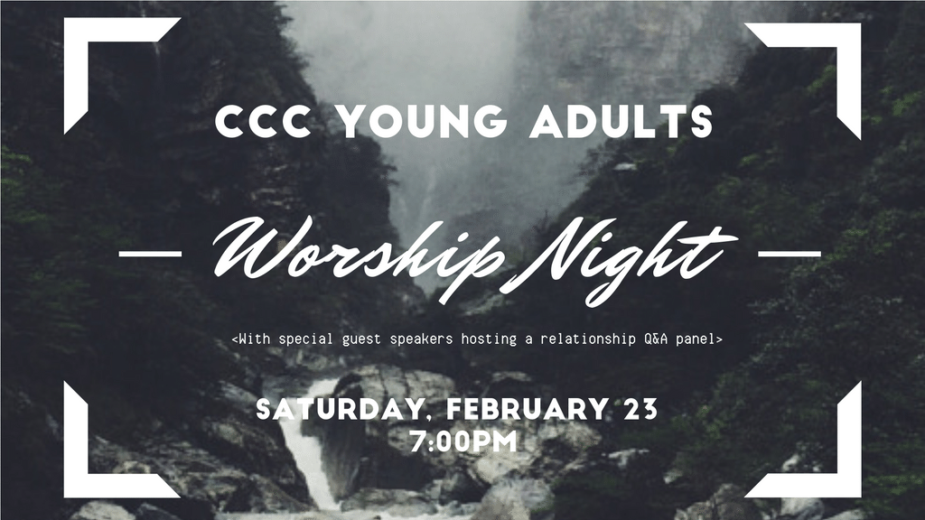 Join us for a night filled with worship followed by a panel of married couples giving relationship advice and hosting a Q&A.  The night will be concluded with snacks, drinks, and hanging out!