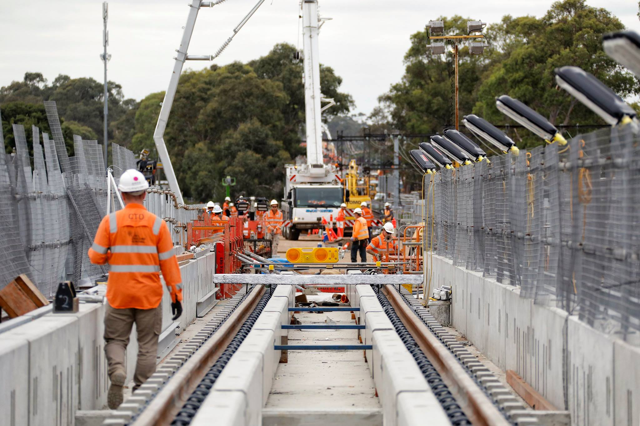 Rail SWS running the commissioning occupation for Noble Park, Caulfield To Dandenong (CTD) works.  Photo taken from up near the new Noble Park station.