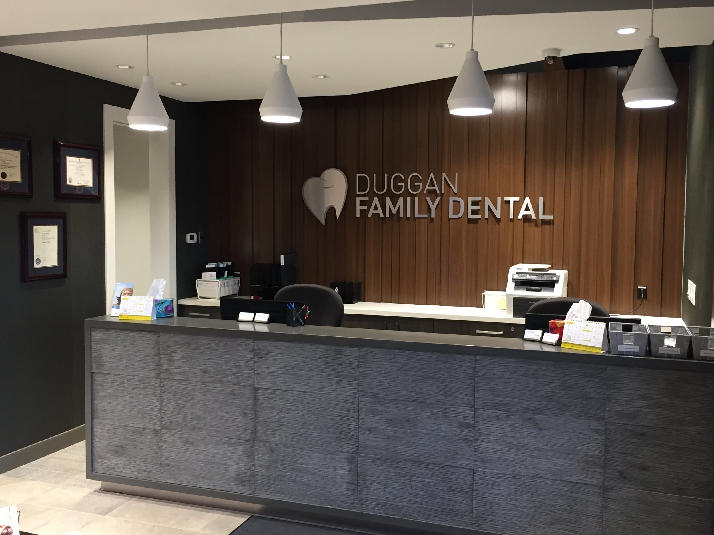 Job Name:  Duggan Dental   Contractor:  Keller Construction   Description:  This project was completed in multiple phases in the span of just over a month. Duggan Dental received an injection of new designs and layouts throughout its space, while continuing to remain open and serve their patients.