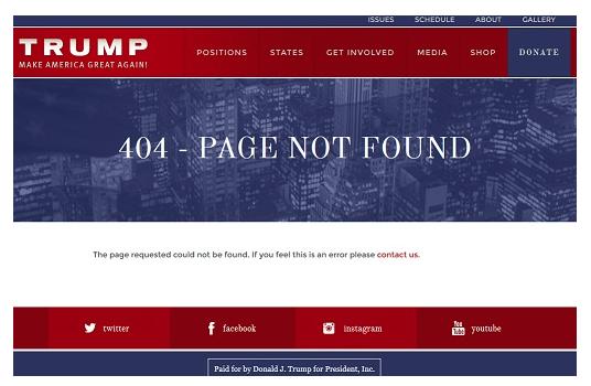 Donald Trump 404 Seite