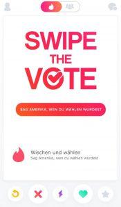 """Die neue App-Funktion """"Swipe the Vote"""" bei Tinder"""