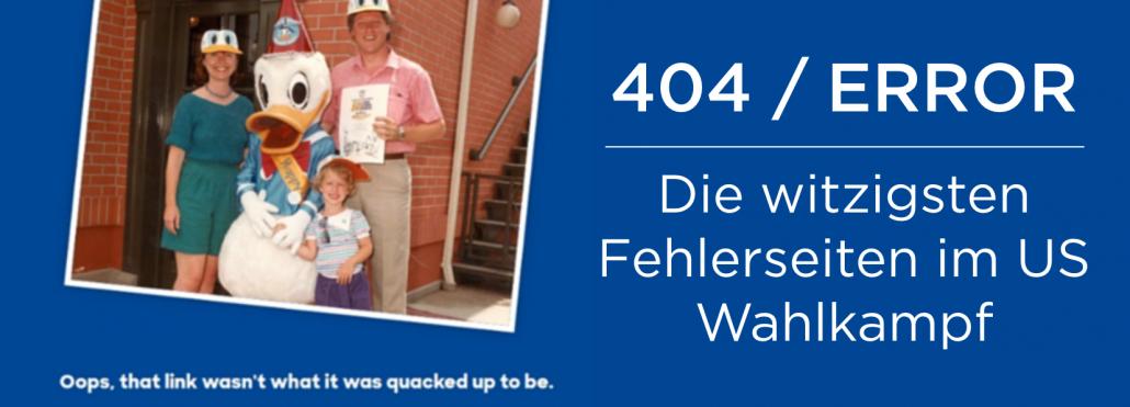 Lustige und kreative 404 Error Seiten für politische Kampagnen