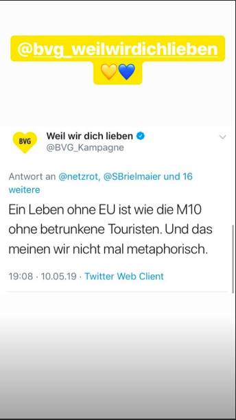 Tweet der BVG, 10. Mai 2019.