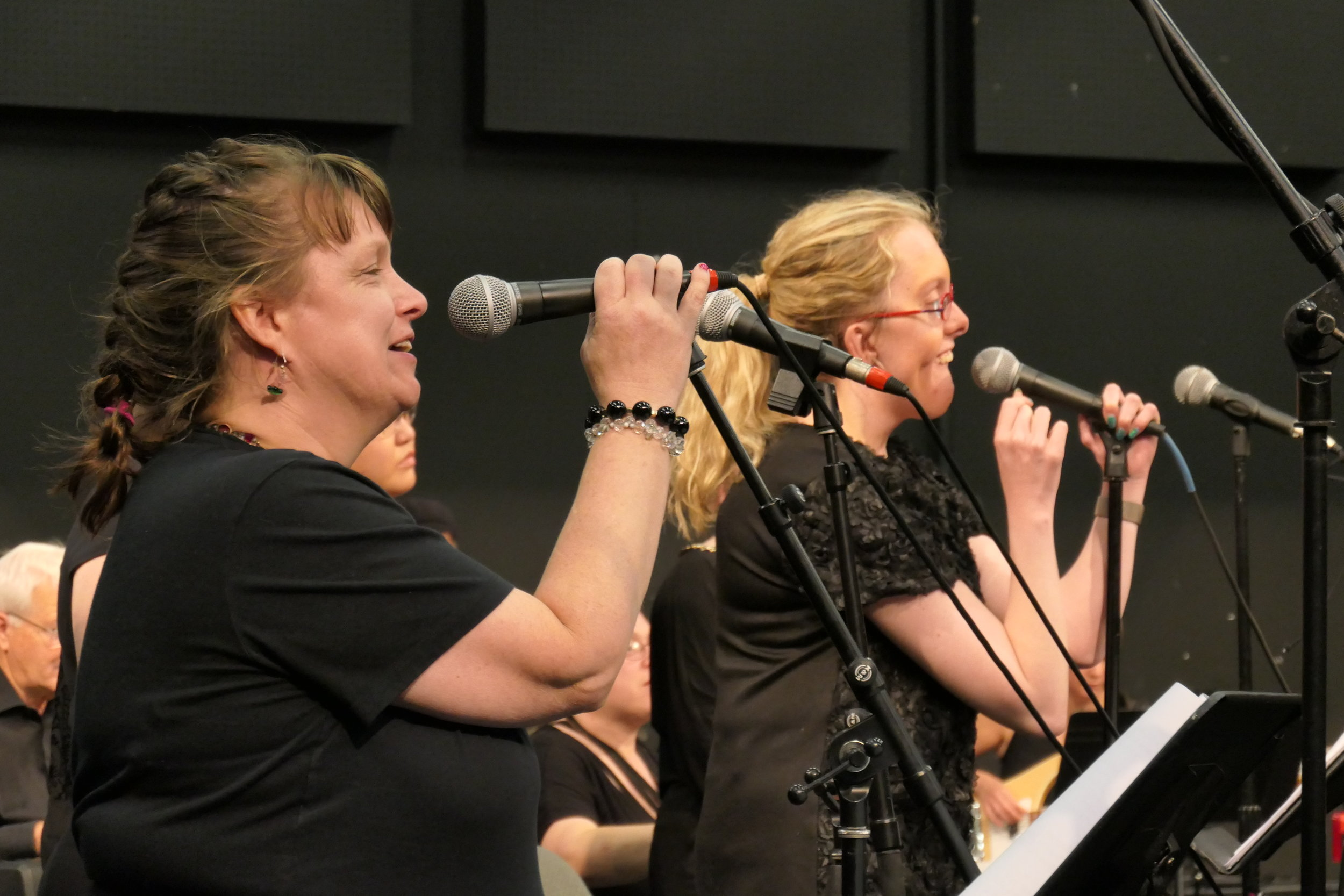 Two women wearing black seen from the side, holding microphones