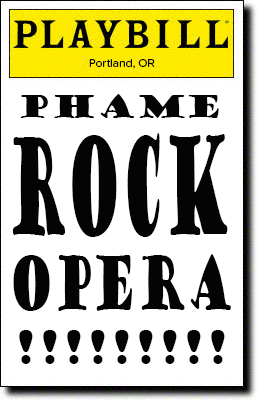 Playbill with the words PHAME Rock Opera