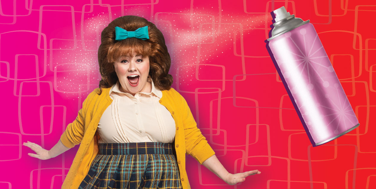 Woman with boufant hair, a bottle of hairspray, and the words Hairspray the broadway musical