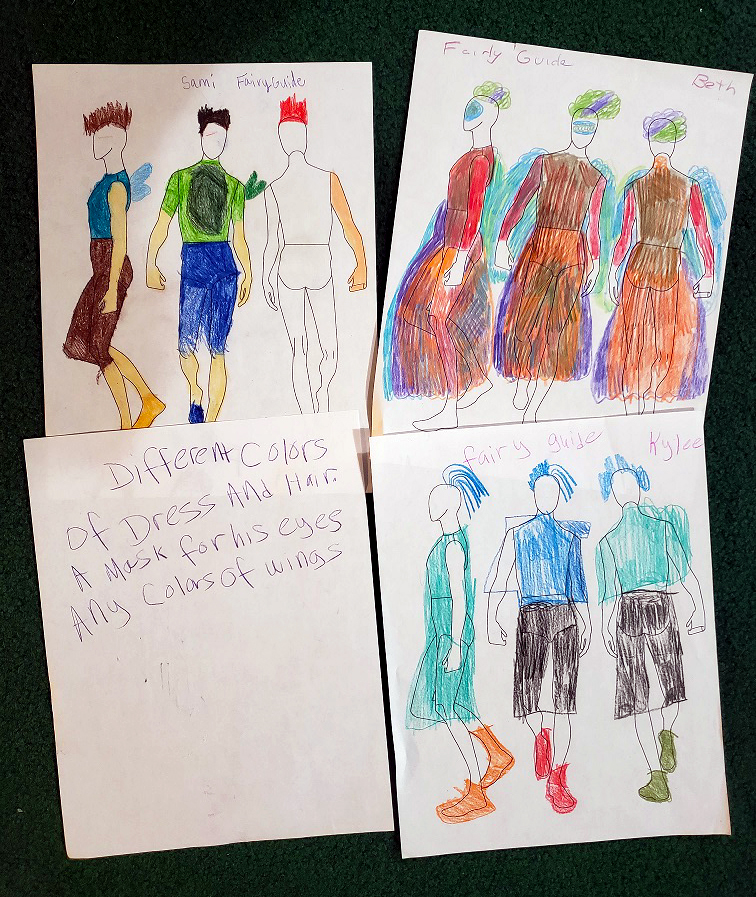 Costume designs for the Fairy Guide