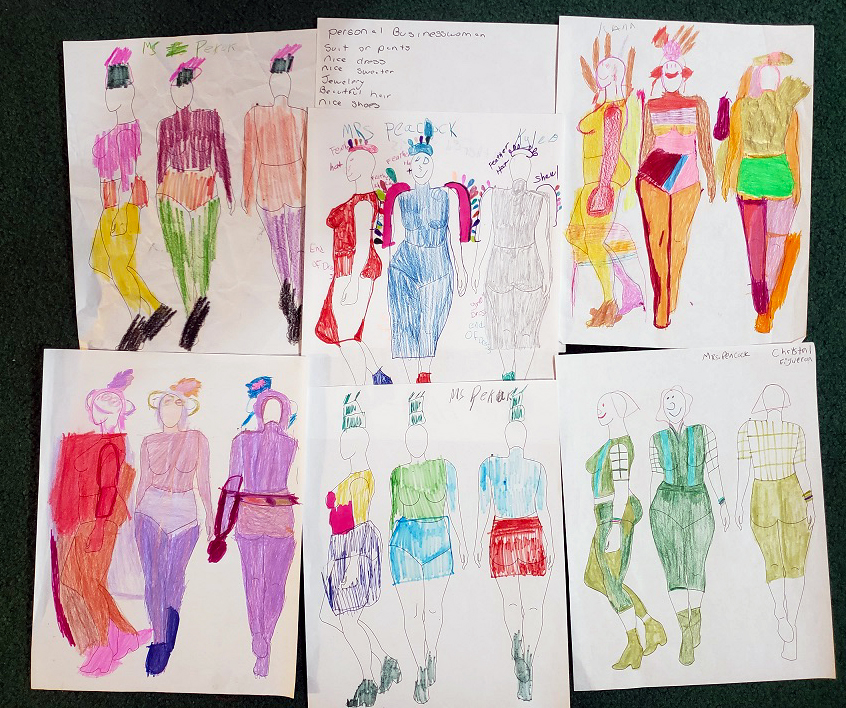 Costume designs for Mrs. Peacock