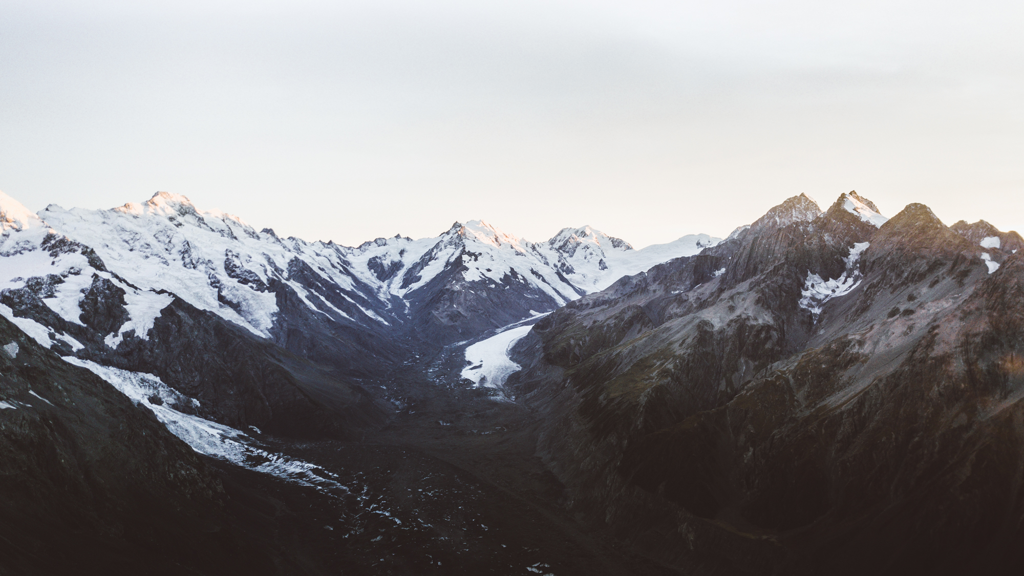 Views over the Tasman Glacier from on the Ball Pass