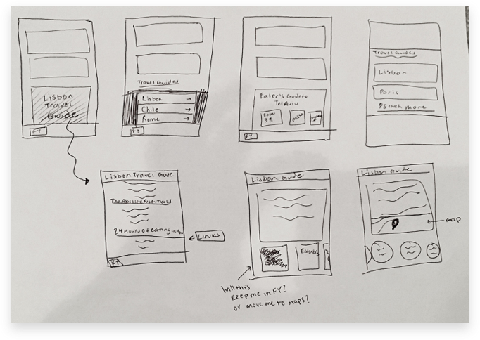 Low-Fidelity Sketches of the Travel Guide Feature
