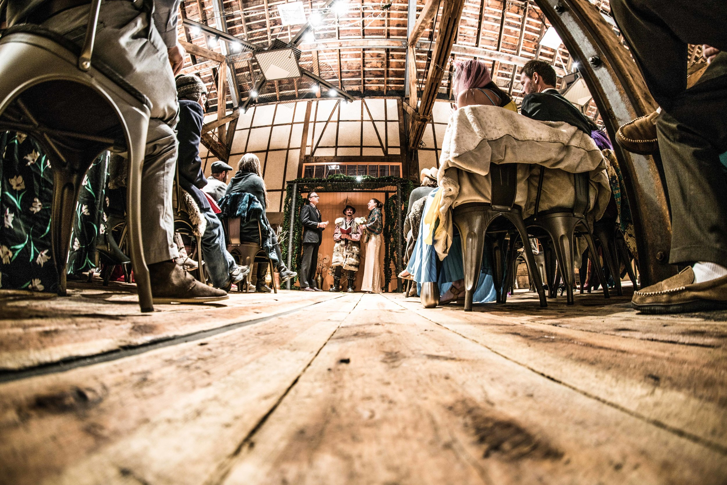 Preservation of the Original Floors . The history of weight is in the wood planked floors. It's one of our favorite features of the building. Imagine the crates of ore, eggs, clothing, coal, flour, and livestock passing through on any given late 1800s afternoon. The building has lived through three centuries of traffic and you can see there's the wear in the floor near the doors, where merchandise was herded in, ticketed, and sent on its way.