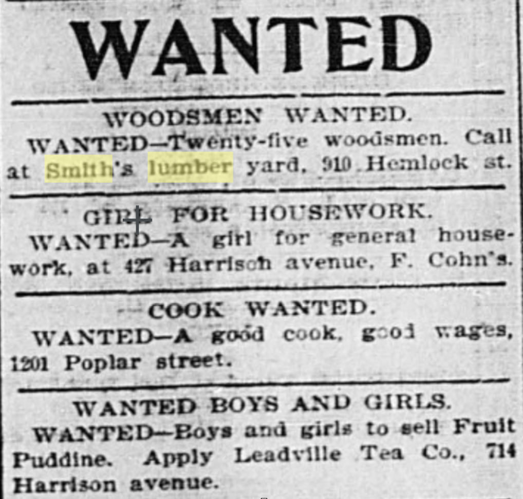 An ad in the Herald Democrat placed Jan 3, 1900 by S.L. Smith Lumber