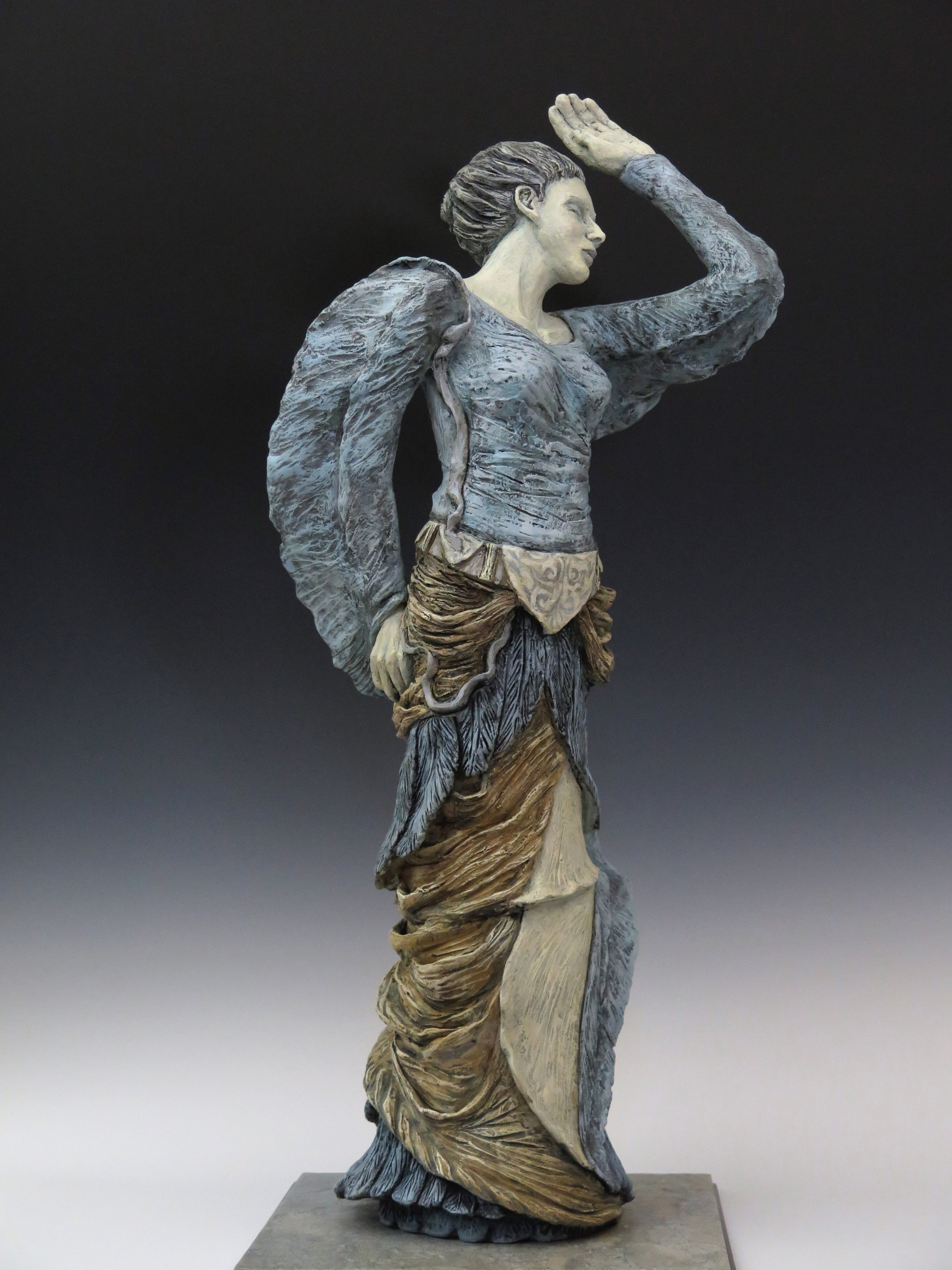 "Heron Rising - Stoneware, oxide stains,underglaze, clay paint, ceramic & steel base33½""×13½"" ×13½""2014"