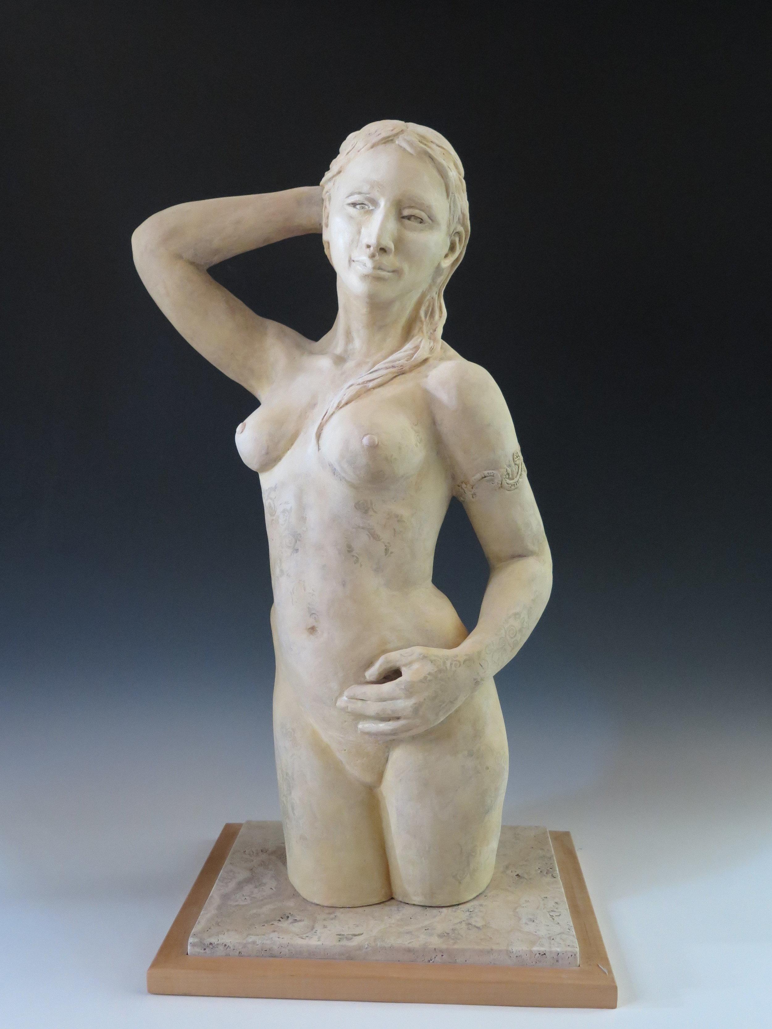 """Sophia - Stoneware, underglaze, stone & wood base28¼"""" ×14½"""" ×12½""""2011"""
