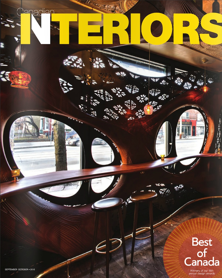 Best of Canada, 2015  Hospitality Interiors: The Nash Restaurant & Off Cut Bar
