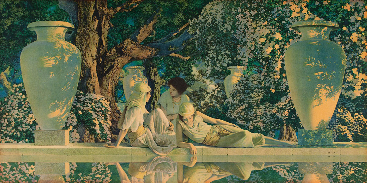 "Maxfield Parrish,  ""The Garden of Allah""        Maxfield Parrish  (July 25, 1870 – March 30, 1966) was an American painter and illustrator active in the first half of the 20th century. He is known for his distinctive saturated hues and idealized neo-classical imagery."