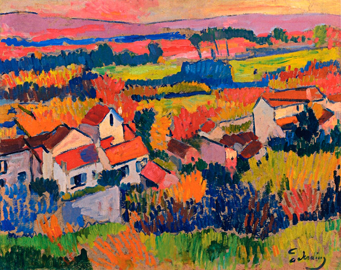 "Landscape near Chatou, André Derain. 1904   (Fauvism movement)  Fauvism is the style of les Fauves (French for ""the wild beasts""), a group of early twentieth-century modern artists whose works emphasized painterly qualities and strong color over the representational or realistic values retained by Impressionism."