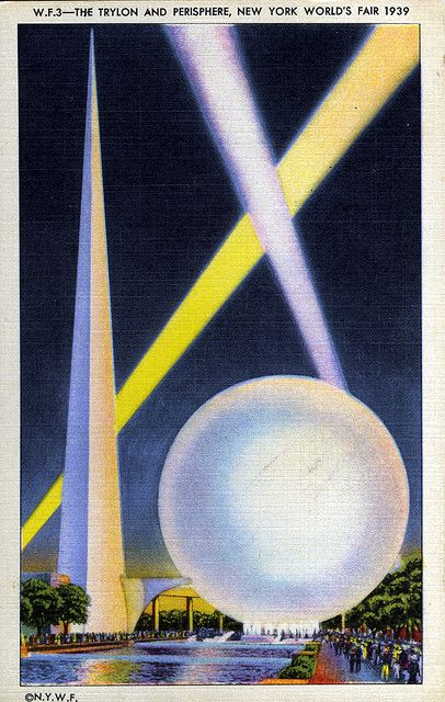 The Trylon and Perisphere at the 1939 New York World's Fair, designed by the firm of Harrison & Foulihoux