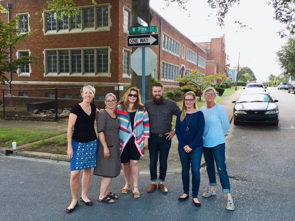 Jodi (on left) with members of the Tree Streets Traffic Mural Committee.