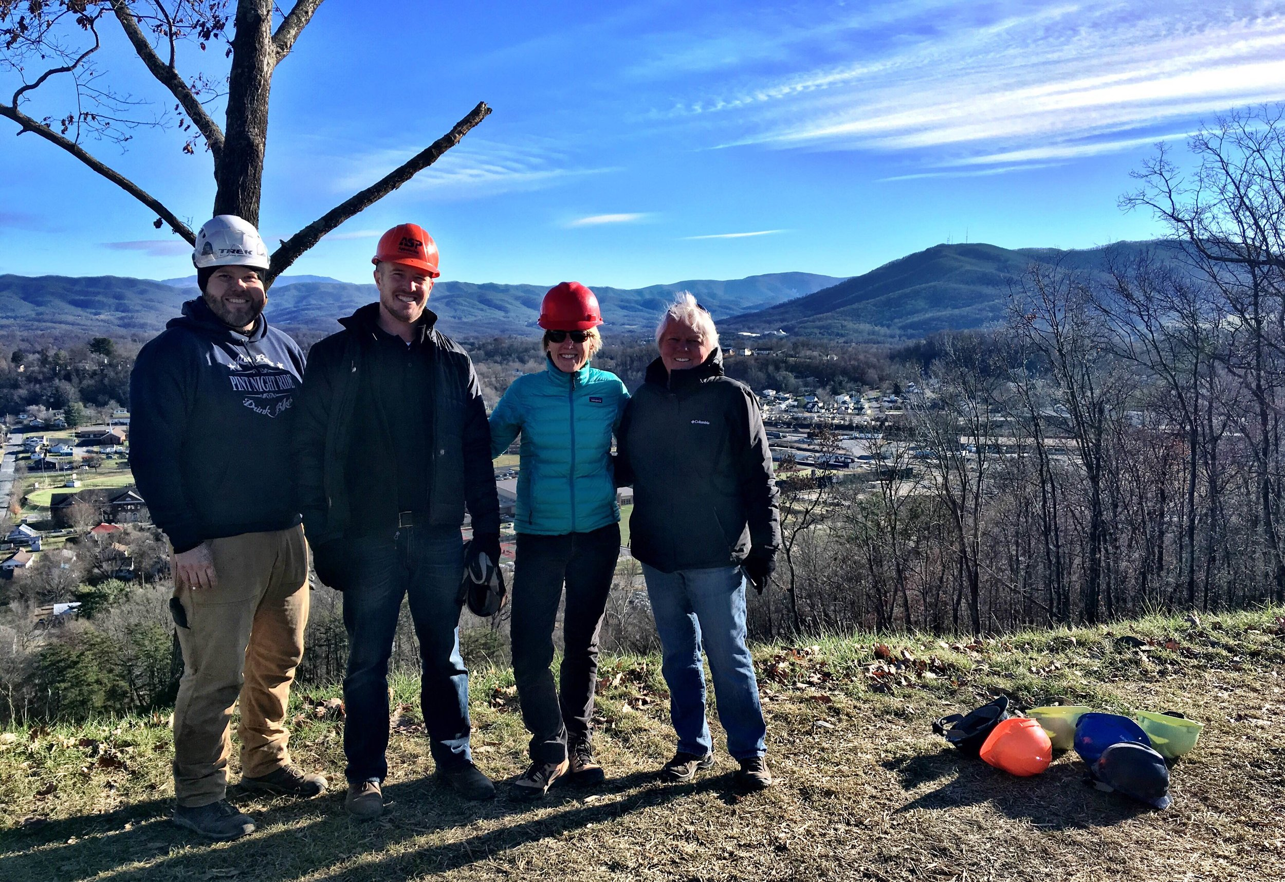 Jodi (center, in blue) with members of the Tannery Knob Steering Committee.