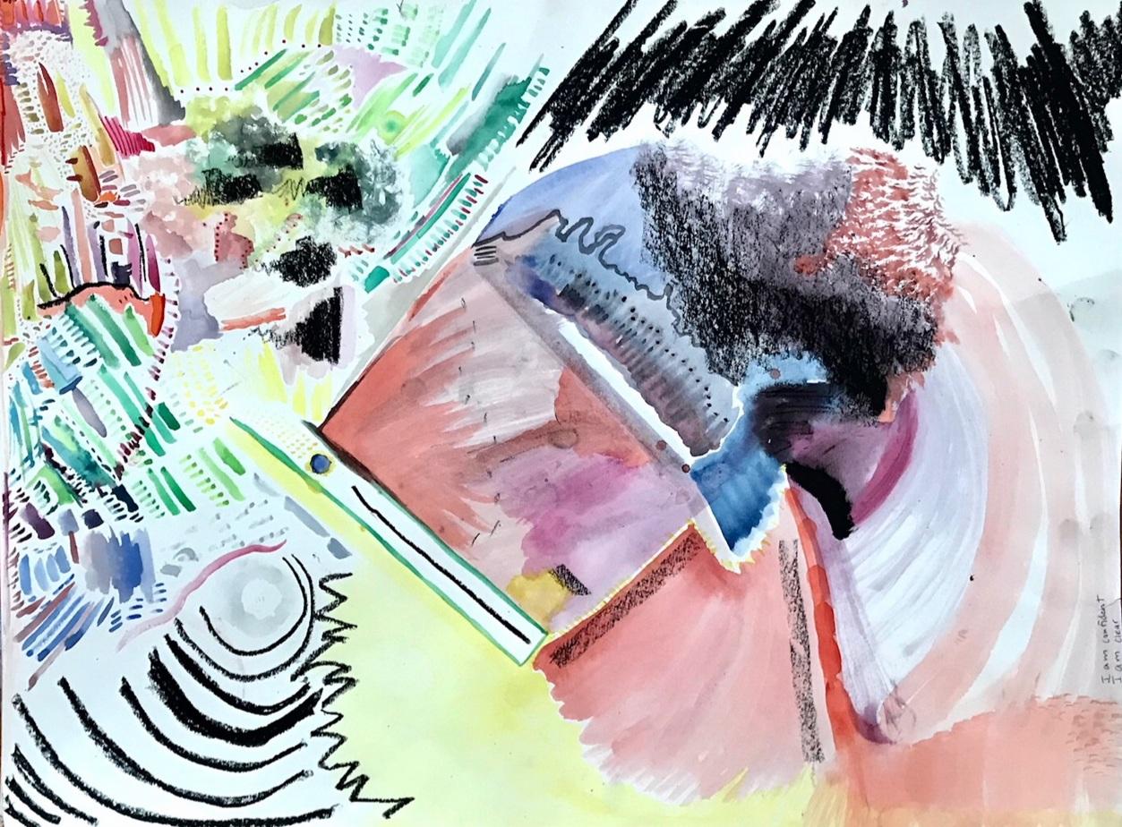 'The Story of a Single Tear Drop' - Portland, OR - 18x24 Watercolor/oil pastel/1 human tear