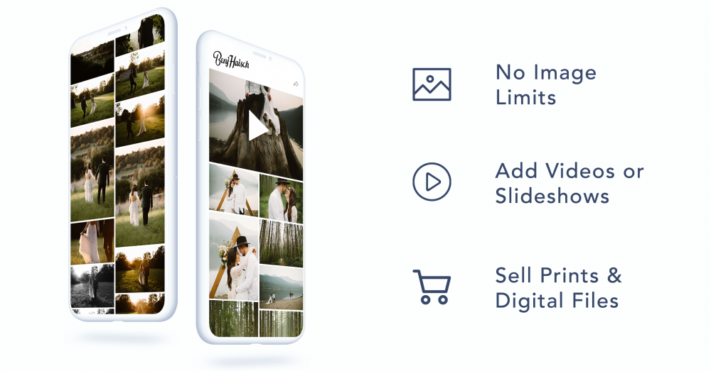 No image limits, add videos or slideshows, and sell prints and digital files!