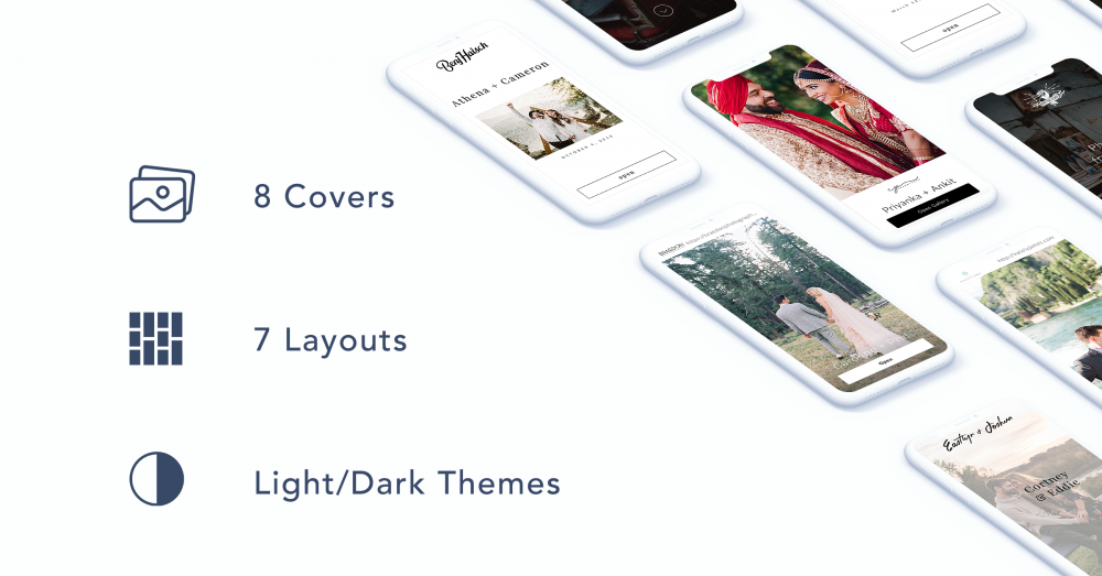 Choose from eight covers, seven layouts, and light/dark themes!