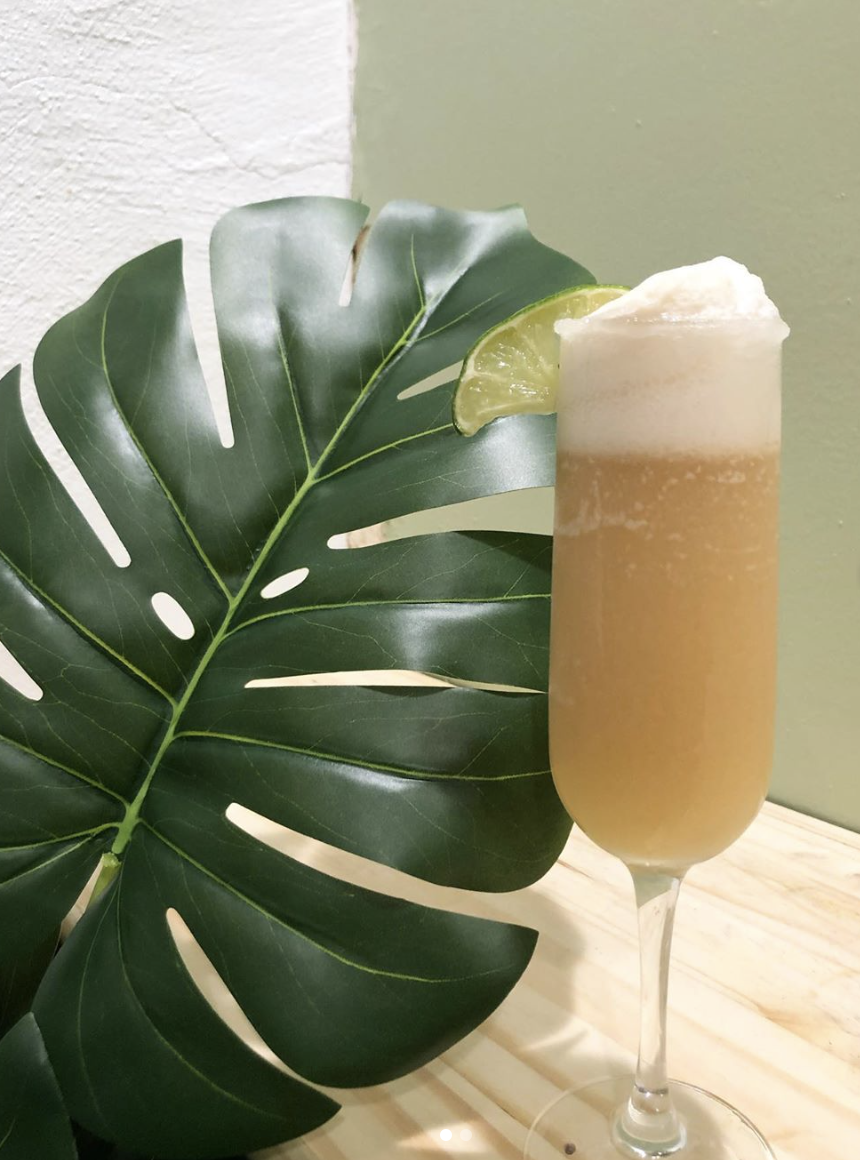 The Queen Nanny: In a cocktail shaker with ice pour 1.5oz dark spiced rum, 3/4oz ginger liqueur, 3/4oz Licor 43, 1/2oz cream of coconut and juice from half a lime shake very well and pour into a flute rimmed with sugar. Top with Jamaican ginger beer and garnish with a lime 🌴