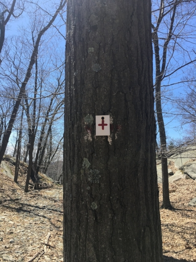 First trail marker for Red Cross after descending Timpe Pass on R-D
