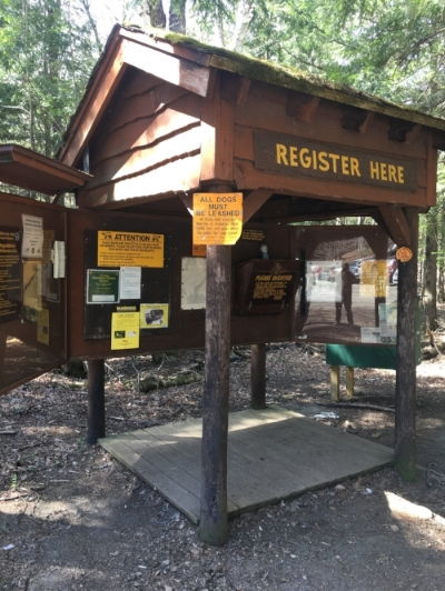 At foot of the trailhead off the edge of the Garden parking lot - Registration hut for the hike