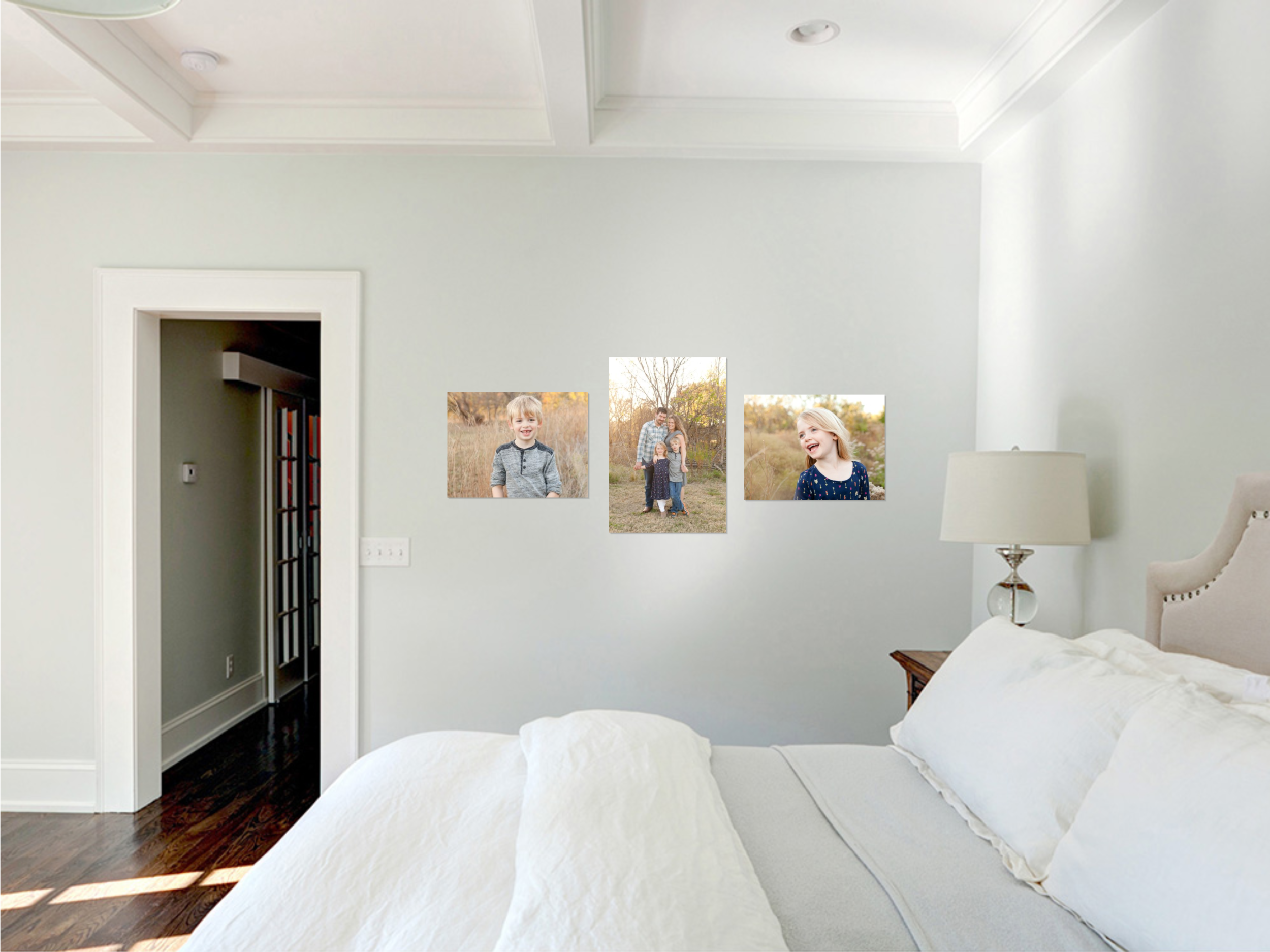 family wall gallery in bedroom