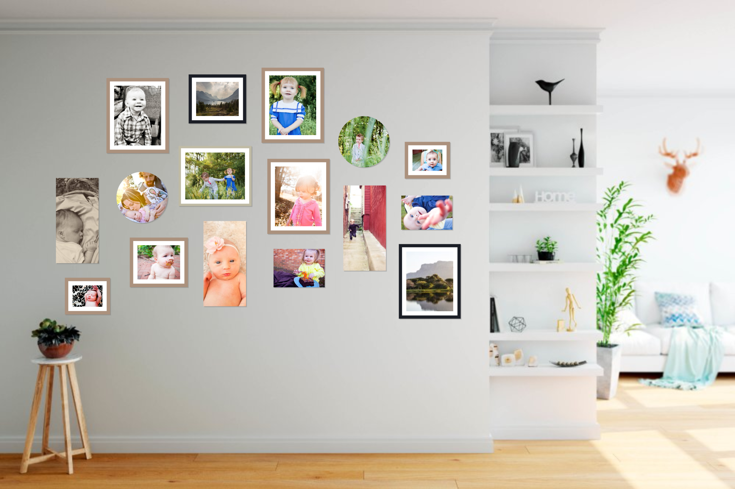 Eclectic wall gallery with photos
