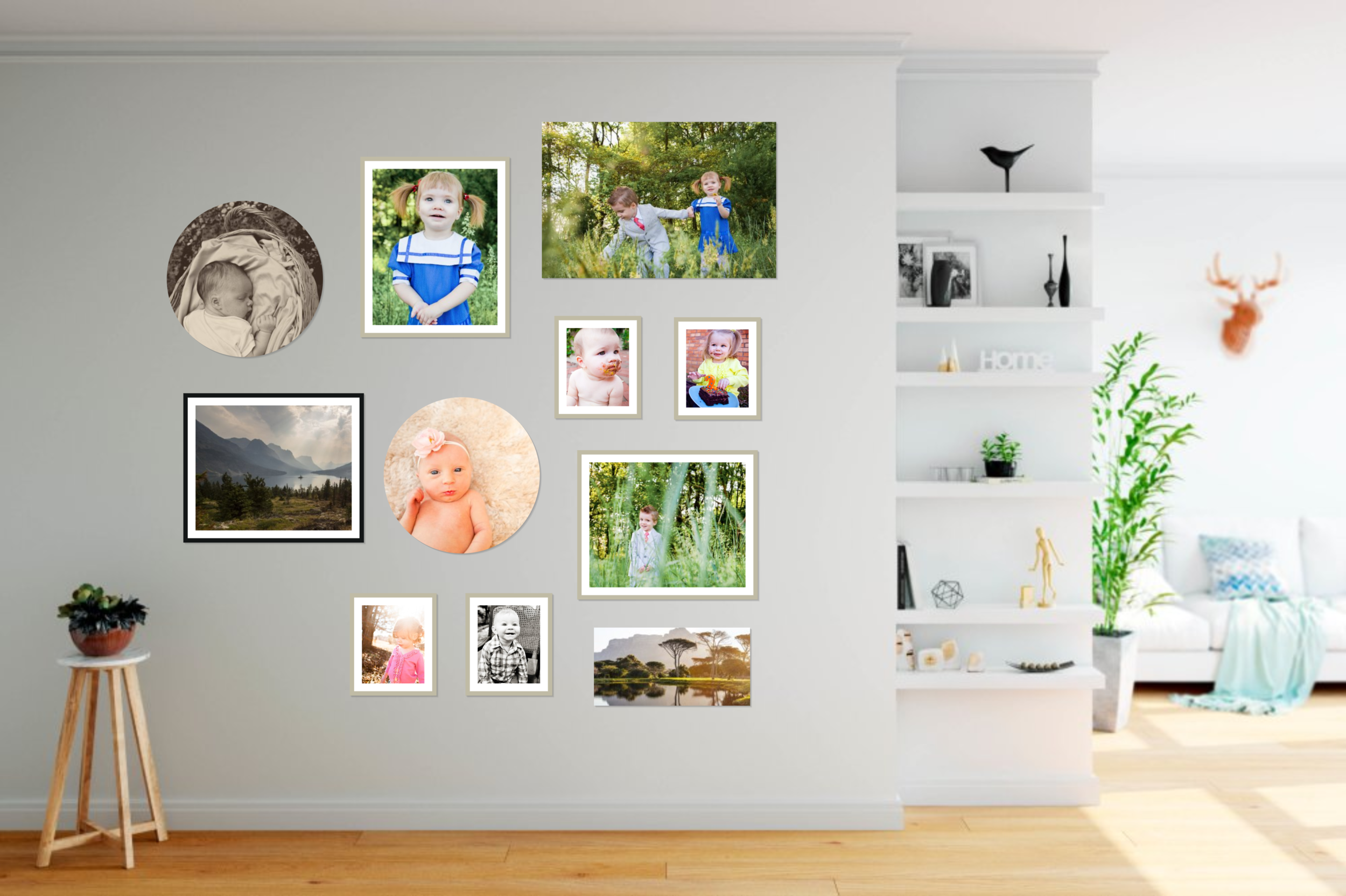 floor to ceiling gallery wall with eclectic style