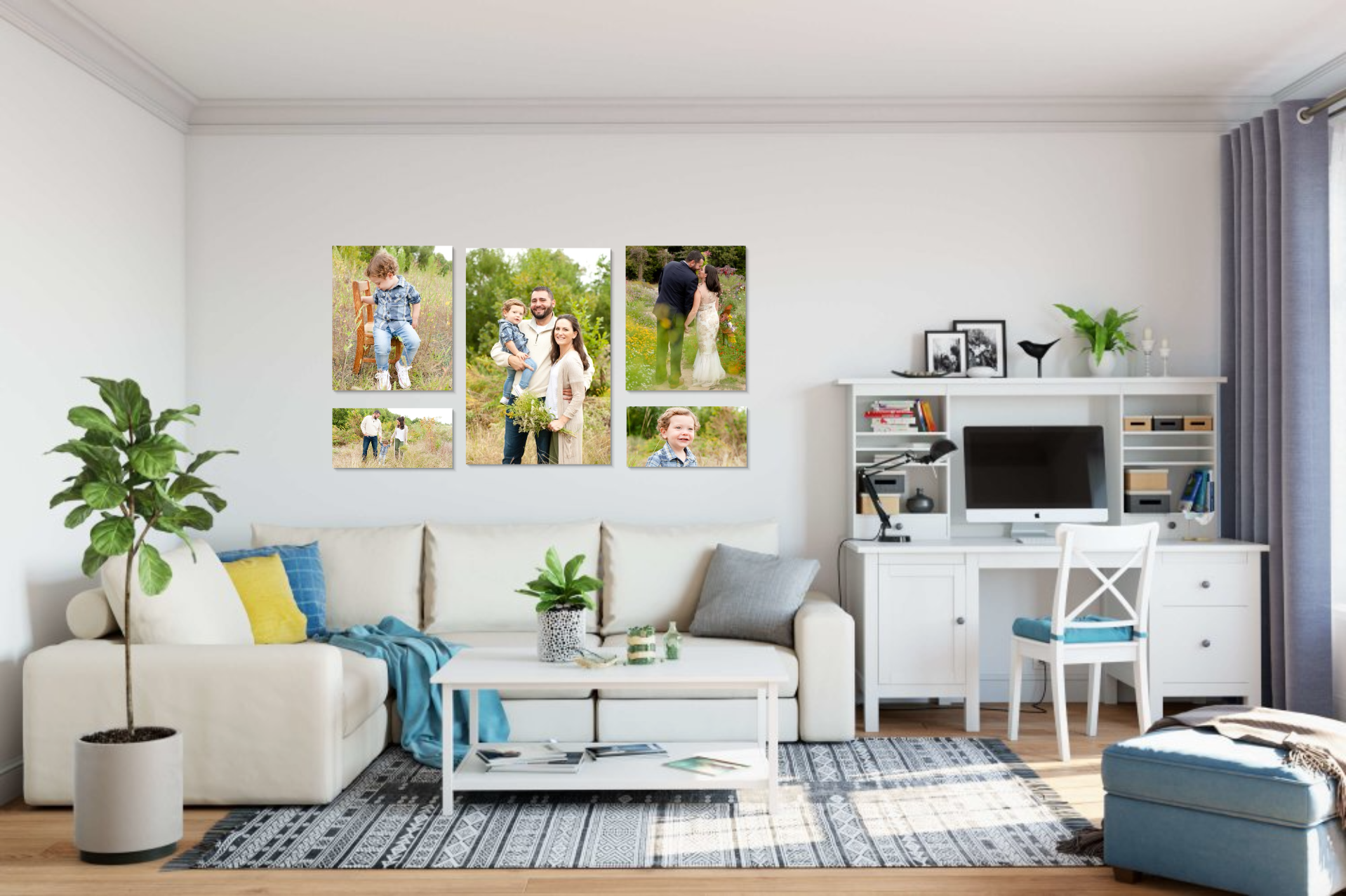 Photo Wall Gallery in living room above couch, Kaitlin Roten Photography