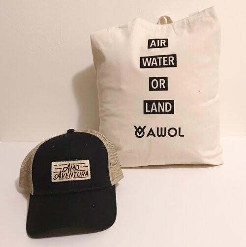 "Tan and Black ""AMO AVENTURA"" Trucker Hat + AWOL Canvas Tote"