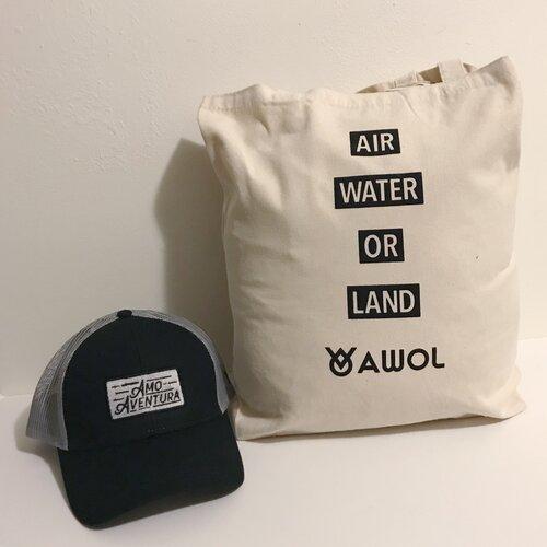 "Grey and Black ""AMO AVENTURA"" Trucker Hat + AWOL Canvas Tote"