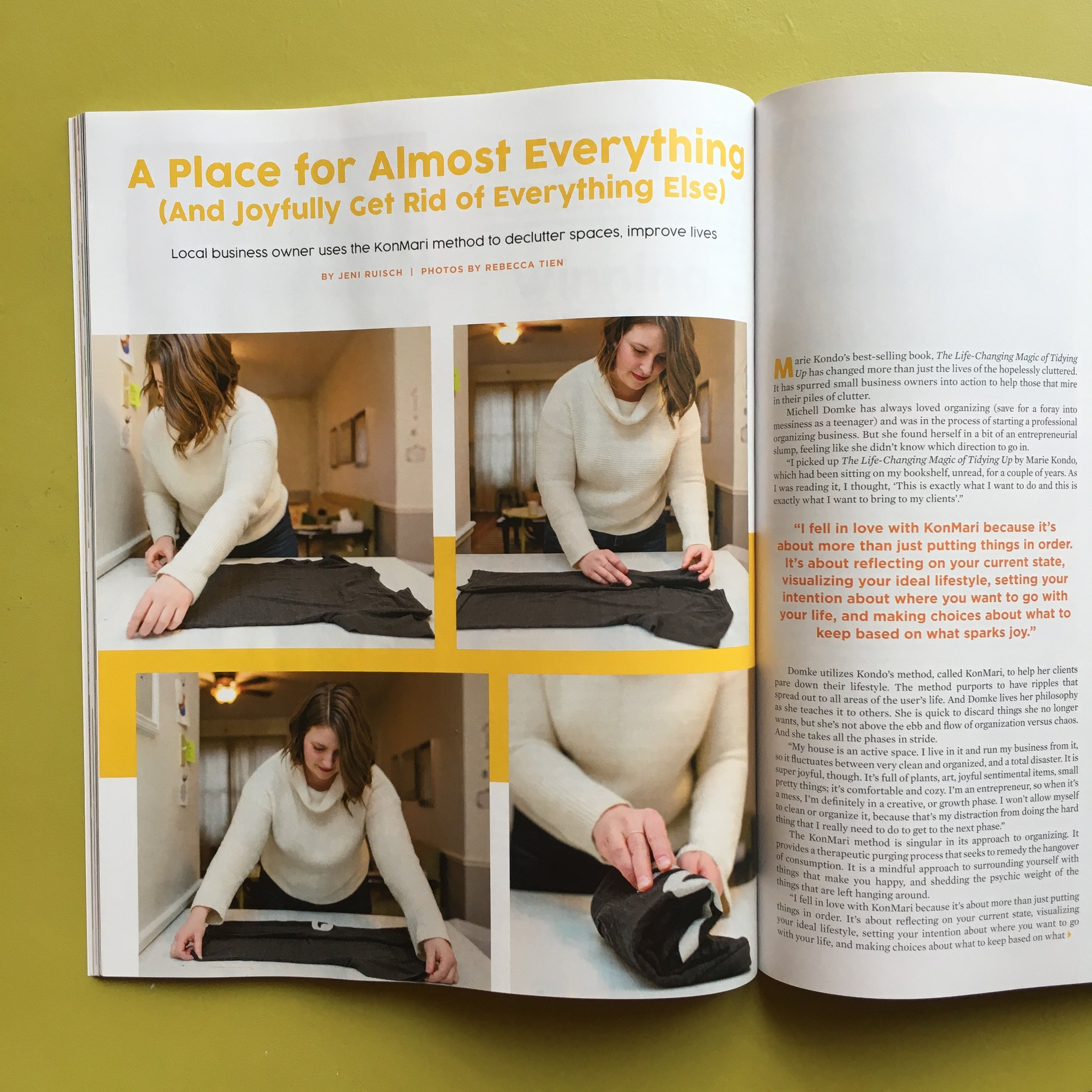 KonMari folding a t-shirt for 614 Magazine.
