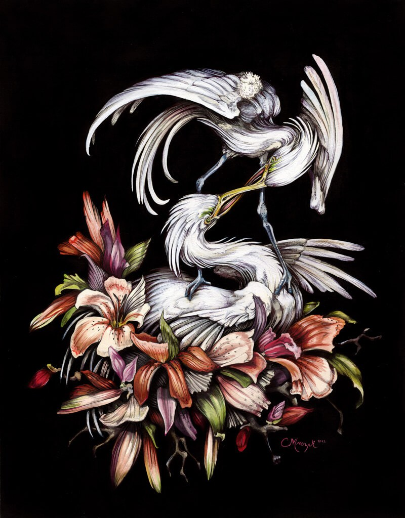 EGRETS Ink, watercolor, marker, acrylic. 11 x 14 in. 2011. Please email me for purchasing information.