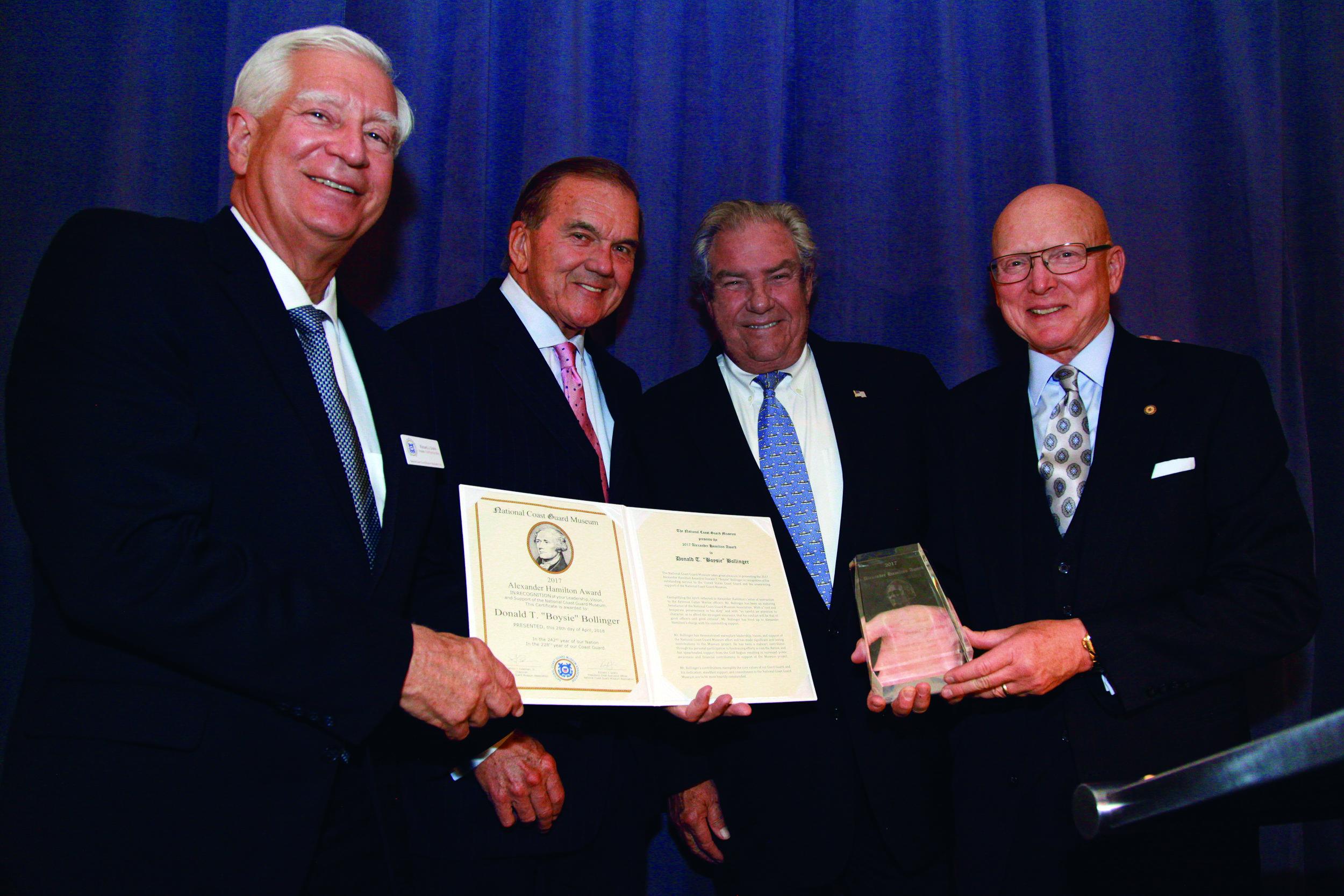 NCGMA President Dick Grahn, Honorable Thomas J. Ridge, Boysie Bollinger and Admiral Robert J. Papp, Jr. USCG (Ret.) - AS.jpg