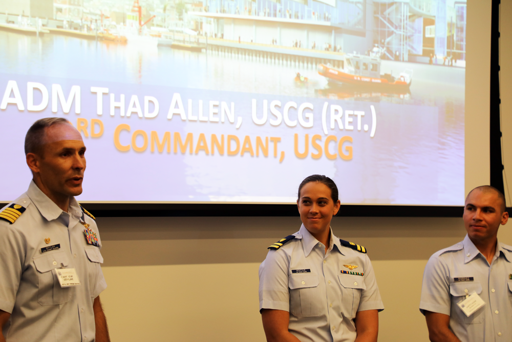 Representatives of Air Station Houston: Commanding Officer Jim Spitler, LT Amanda Montour and AMT3 Adam Rodriguez