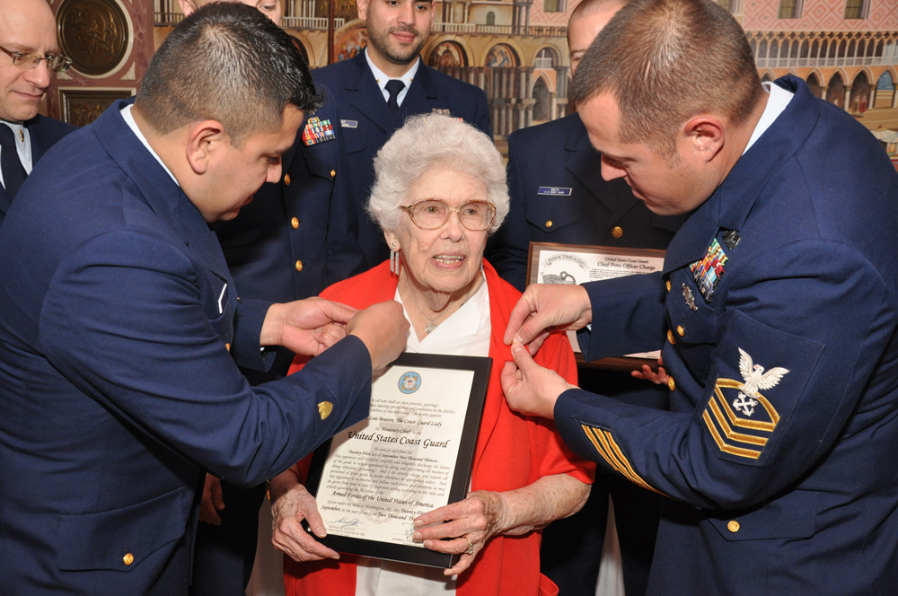 Coast Guard Lady, Lois Bouton, is made an honorary chief in 2013