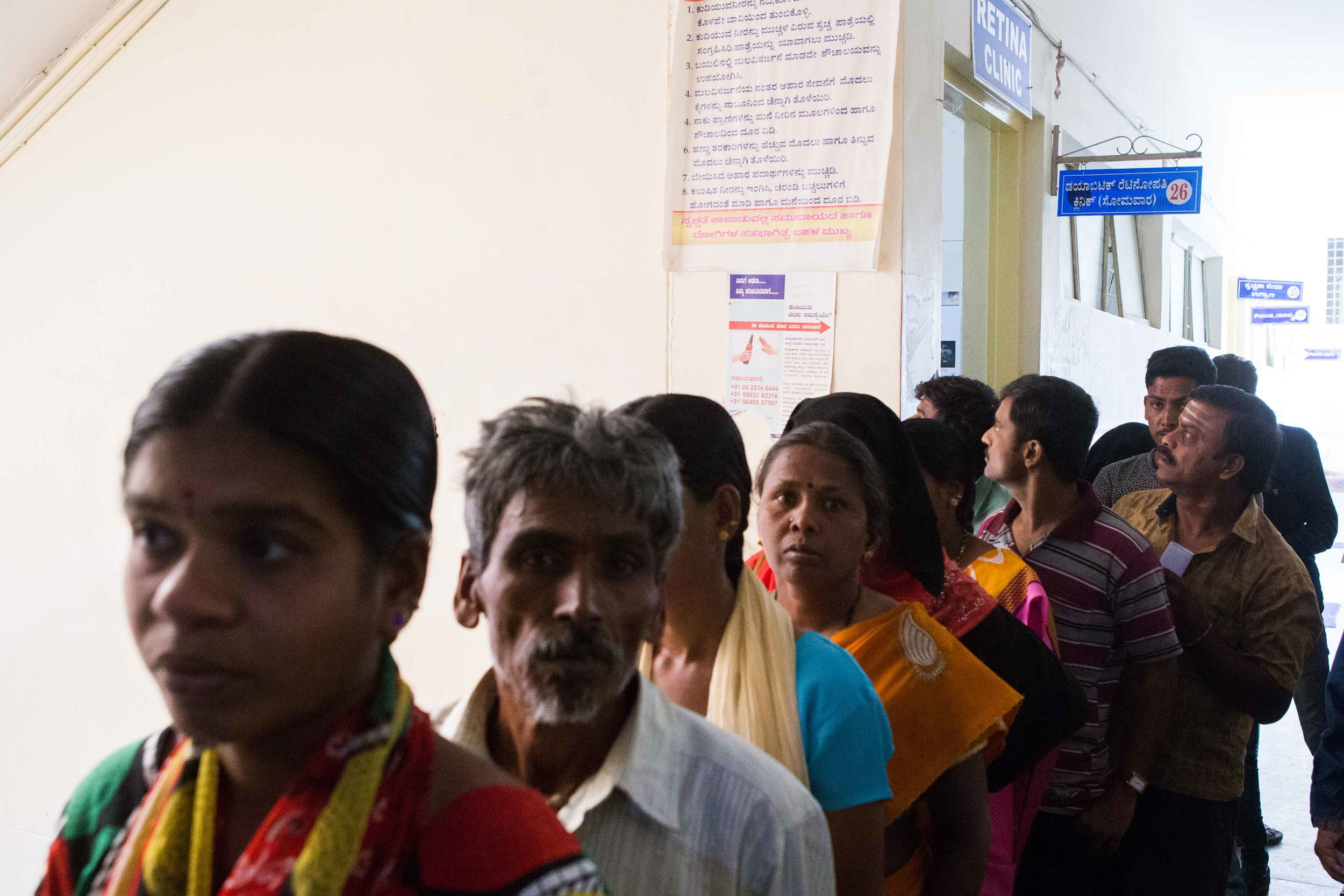 People queing up for having their eyes checked at the retina clinic. District Hospital Tumkur, karnataka