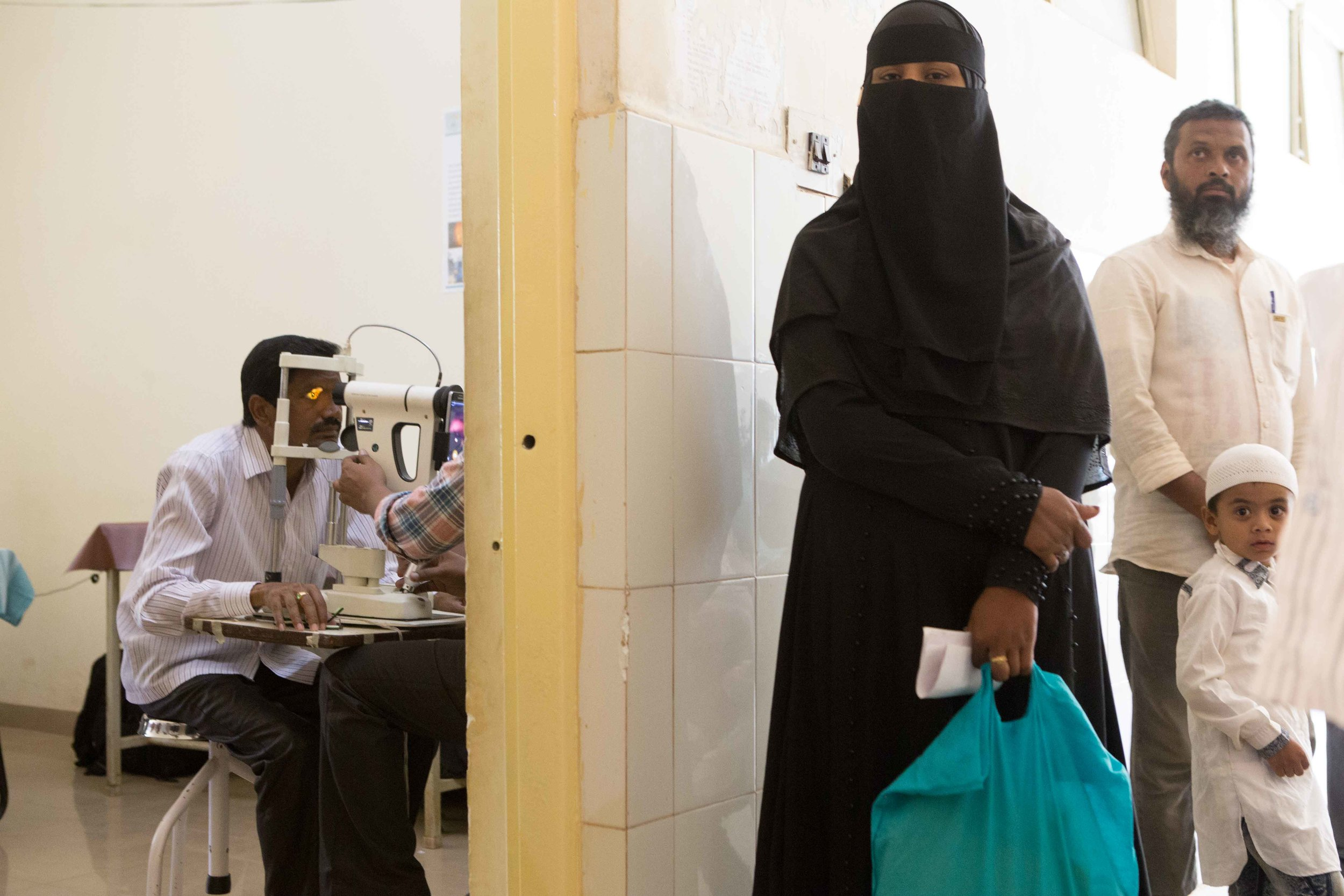 Retina examination in process. District Hospital Tumkur, Karnataka