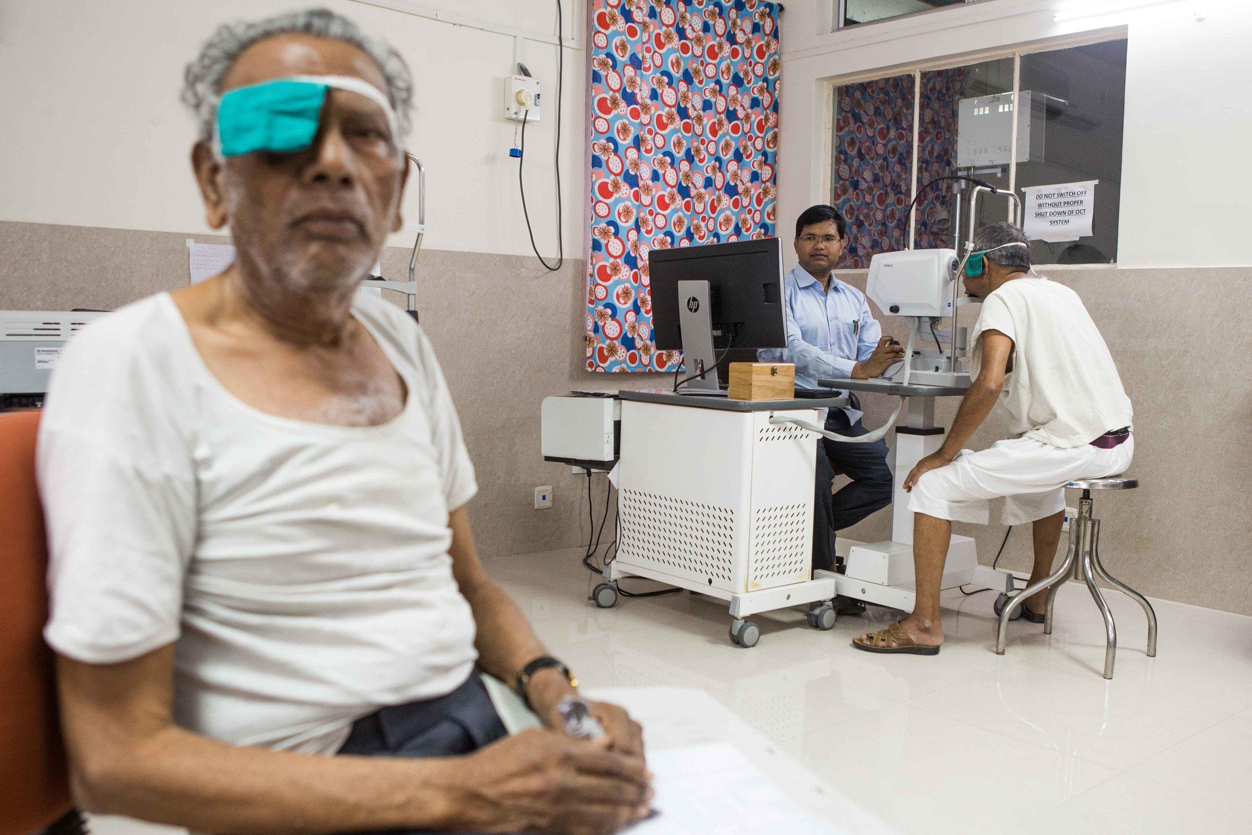 Retina examination in process. District Hospital Wardha, Maharashtra