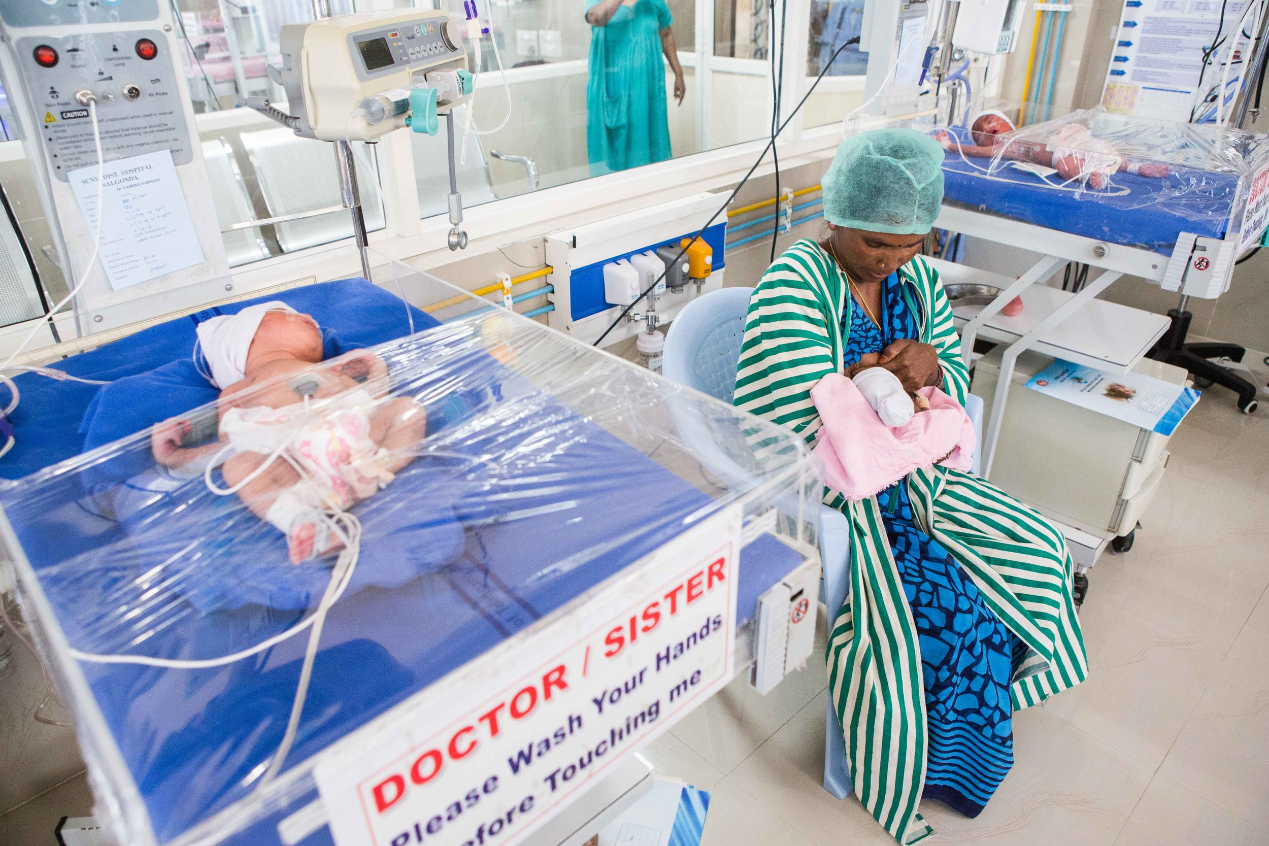 A ROP baby being breast fed by the mother in the NICU. District Hospital Nalagonda, Telangana