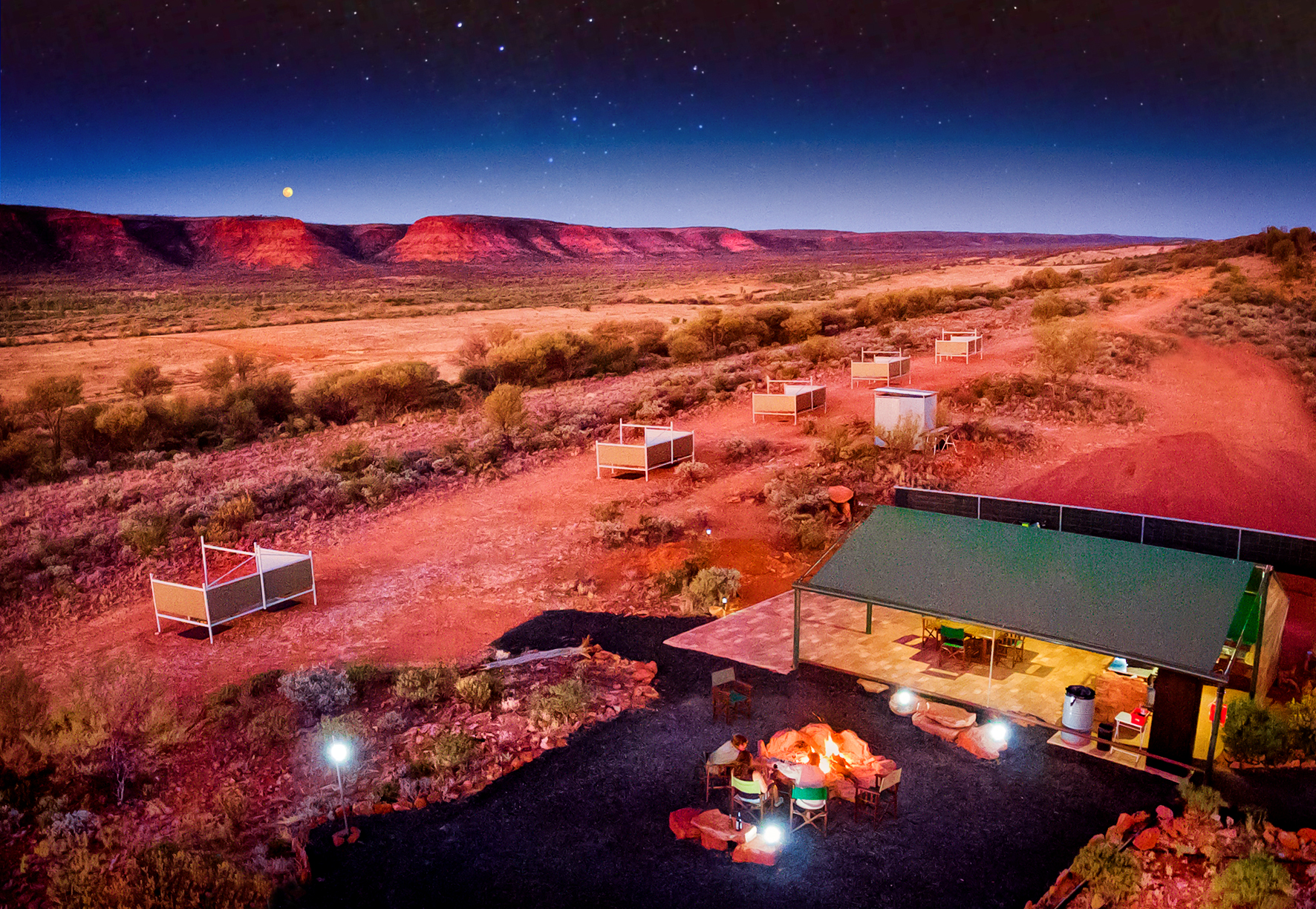 Drovers Camp after sundown with stars +moon.jpg