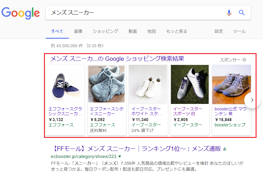Googleショッピング広告イメージ