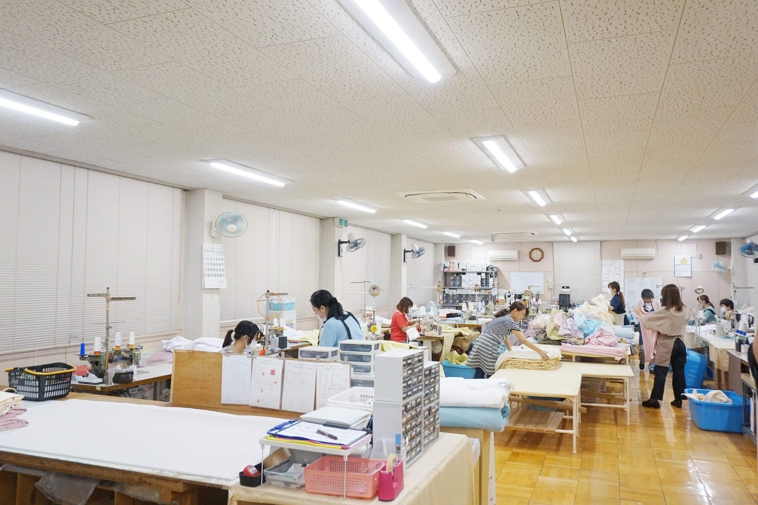 寝装品の縫製現場