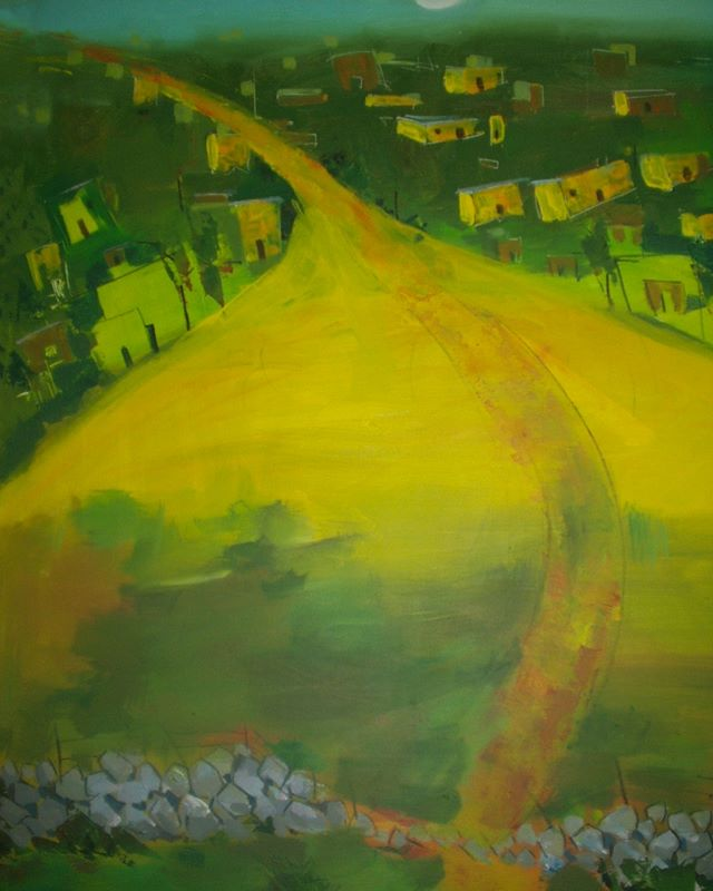 A series of landscapes and abstracts by Abraham Awalom from the early 2000's back in Eritrea. This week I had the pleasure of working with Abraham to go through digital images of his past works - hundreds of them! The periods they come from are distinctive in style and color palette. It was fascinating to witness his artistic growth in this way, though heartbreaking to see how many great works have been lost forever. We are starting an Etsy page for him to sell his prints and originals - you can look him up by name on Etsy's website to purchase or go to his personal site at AbrahamArtwork dot com.